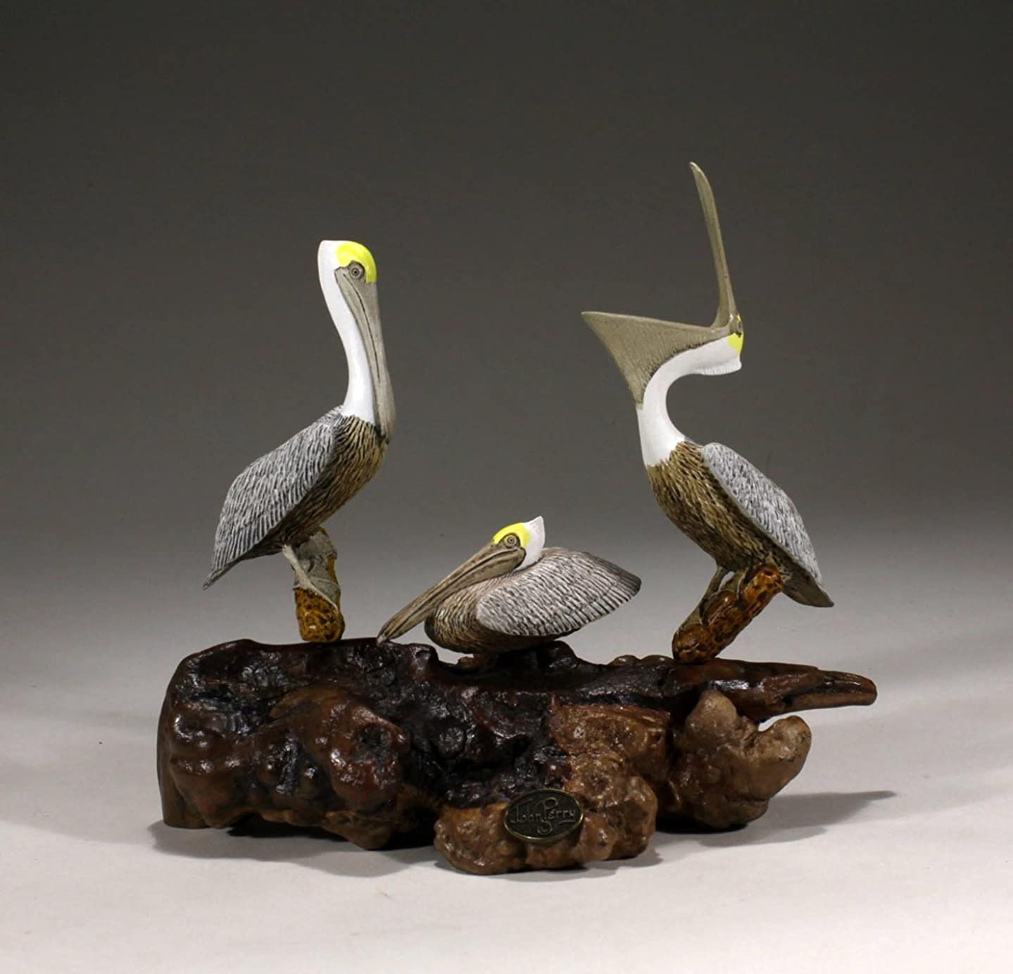 Triple Pelican Sculpture from John Perry 8in Long on Burlwood Statue Decor (perching, laughing, snoozing)