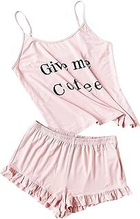 DIDK - Conjunto de pijama de playera con tirantes y pantalones cortos, estampado de letras, para mujer