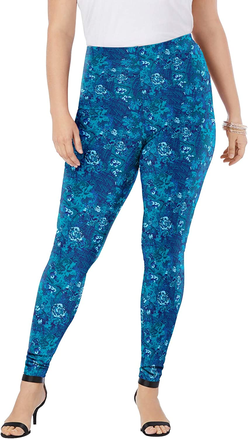 Roamans Womens Plus Size Ankle-Length Essential Stretch Legging Activewear Workout Yoga Pants