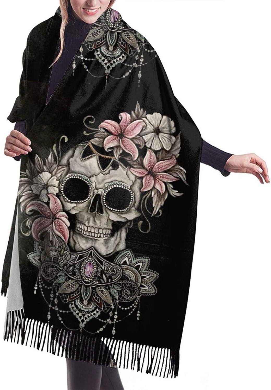 Womens Comfortable Cashmere Scarf,Floral Sugar Skull Shawl Scarf,Premium Large Pashmina,Warm Wrap Blanket Solid Shawl Elegant Wrap