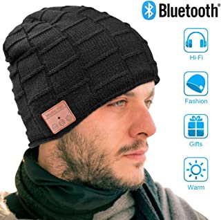 Bluetooth Beanie, Mens Gifts, Electronic Gifts for Men, Fashion Gifts for Women, Bluetooth Hats for Men and Women, Music Hat with Bluetooth Headphones (Black)