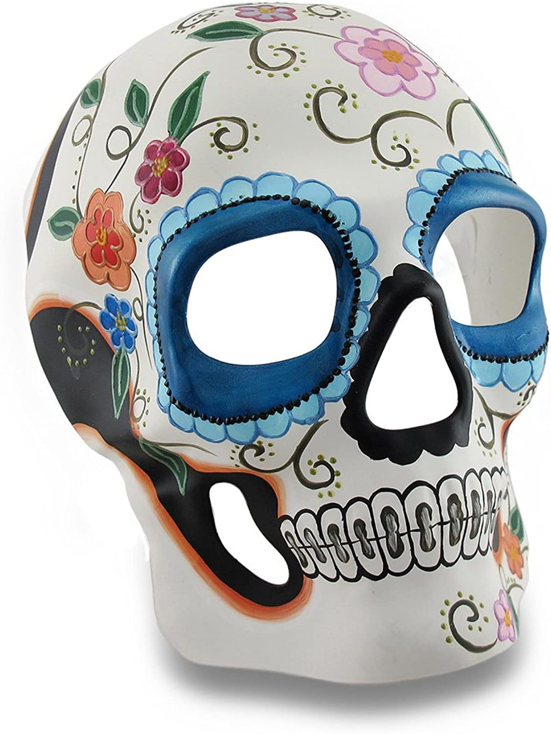 Zeckos colorful White and bluee Floral DOD Sugar Skull Style Mask