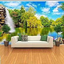 ورق جدران مخصص ثلاثي الأبعاد لصورة ثلاثية الأبعاد لغرفة المعيشة تلفزيون خلفية ورق حائط ثلاثي الأبعاد منظر طبيعي شلال MRQXD...