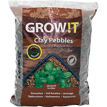 GROW!T GMC10L - 4mm-16mm Clay Pebbles, Brown, (10 Liter Bag) - Made from 100% Natural Clay, Can be used for Drainage, Decoration, Aquaponics, Hydroponics and Other Gardening Essentials