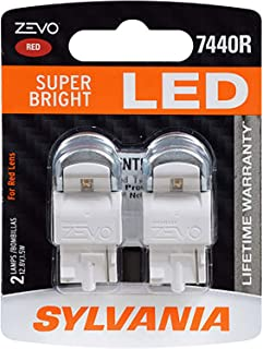 SYLVANIA - 7440 T20 ZEVO LED Red Bulb - Bright LED Bulb, Ideal for Stop and Tail Lights (Contains 2 Bulbs)