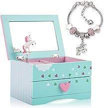 Amitié Lane Unicorn Jewellery Box For Girls - Two Unicorn Gifts for Girls including Green and Pink Unicorn Music Box and U...