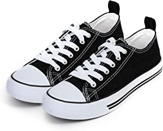 Women's Sneakers Casual Canvas Shoes, Low Top Lace up Cap Toe Flats (Order One Size Up) Black Size: 10