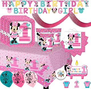 Minnie Mouse Fun To Be One Mega First Birthday Party Supplies Pack With Plates, Cups, Napkins, Tablecover, Birthday Banners, Balloons, Candles, Streamer and Exclusive Pin By Another Dream