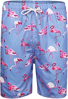 QRANSS Men's Quickly Drying Board Shorts Flamingo Printed Swim Trunk