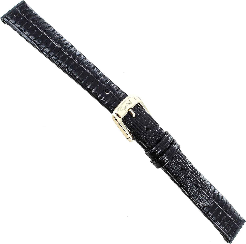 Limited price 12mm Speidel Black Daily bargain sale Gator Lizard Wat Leather Genuine Grain Ladies