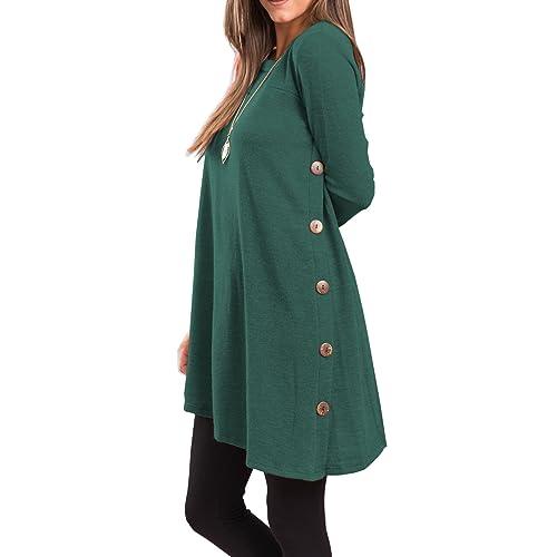 bfd4d127 iGENJUN Women's Long Sleeve Scoop Neck Button Side Tunic Dress