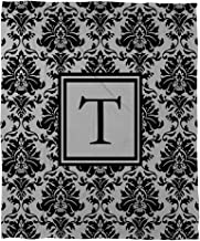 Manual Woodworkers & Weavers Coral Fleece Throw, 50 by 60-Inch, Monogrammed Letter T, Black and Grey Damask