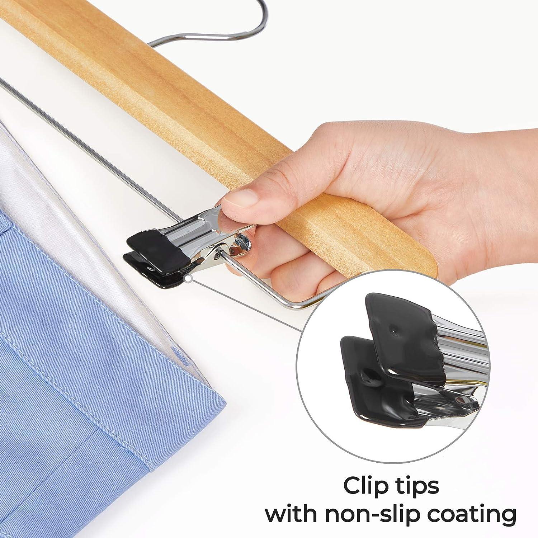 360/° Swivel Hook Slacks for Pants Skirts Skirt Hangers with Adjustable Non-Slip Metal Clips SONGMICS Wooden Pants Hangers Set of 10 Natural UCRW010N01