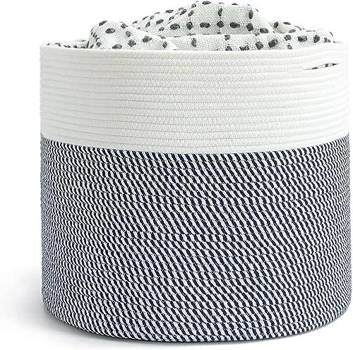 INDRESSME Extra Large Storage Basket for Blanket Bedroom Rope Laundry Basket Toy Storage Basket for Kids Navy Baby Ba...
