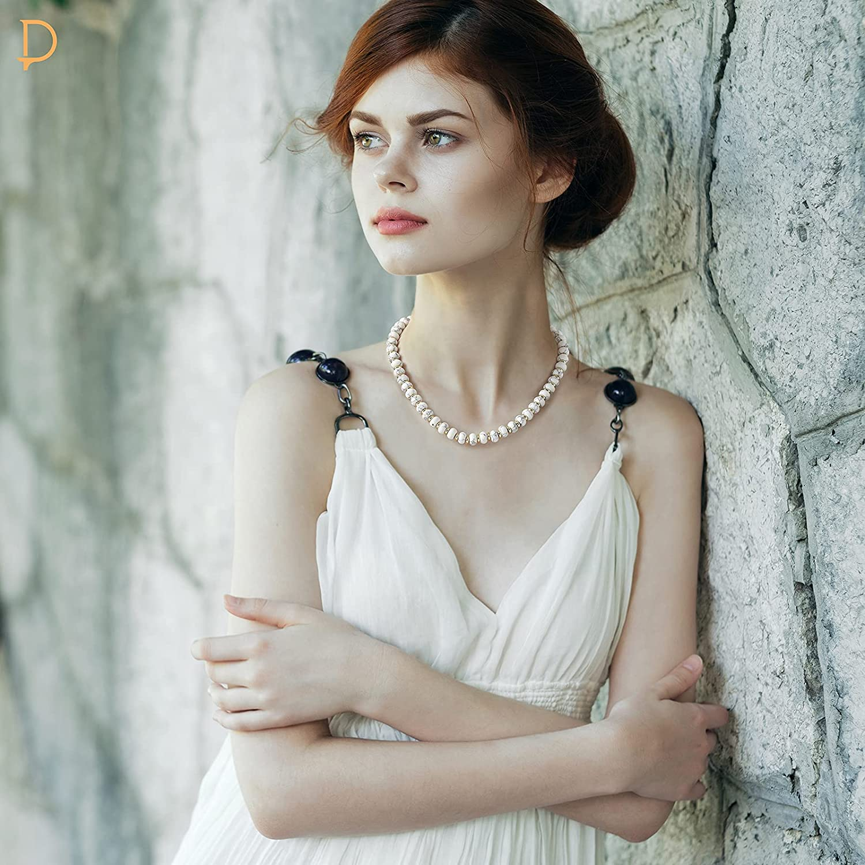 PLTGOOD Crystal Beads Choker Necklace for Women - Natural Healing Gemstone Stone Turquoise/Rose Quartz/White Howlite/Topaz/Amazon Beaded Choker Necklace Bohemian Jewelry