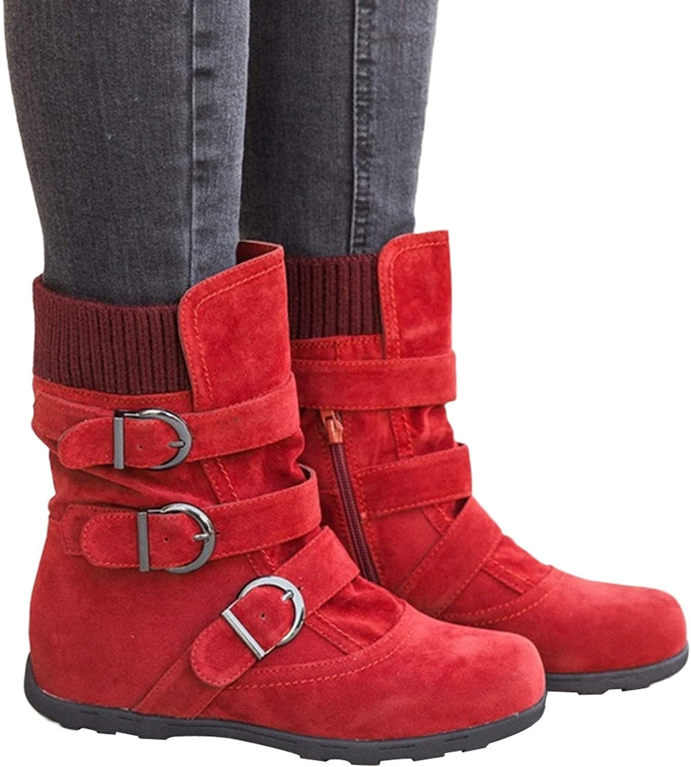 Winter Boots Women Zipper Flat Pure color Buckle Strap Keep Warm Snow Boots