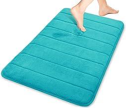 Yimobra Memory Foam Bath Mat Large Size 31.5 X 19.8 Inch Maximum Absorbency Non-Slip Lake Blue