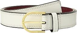 Calvin Klein - Stitched Flat Strap Belt w/ Eyelets
