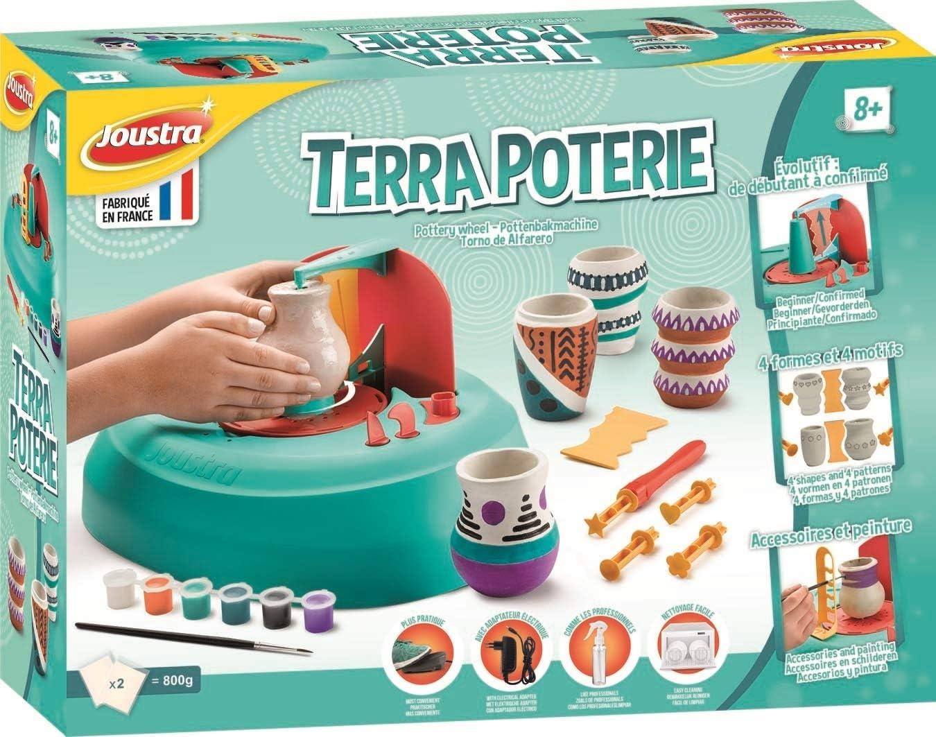 Joustra- Terra POTERIE Juego cerámica para niños a Partir de 8 años y Principiantes, para Manualidades y Trabajos manuales Infantiles, Multicolor (41200)