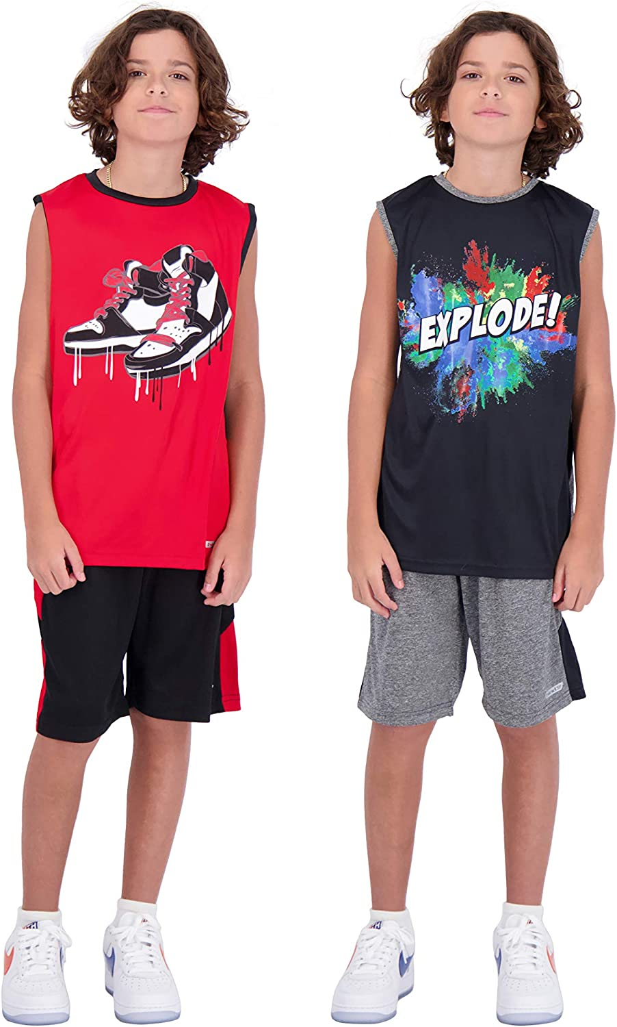 Hind 4-Piece Boys Basketball Shorts and Muscle Athletic Shirt Tank Top Jersey