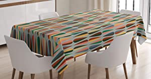 Ambesonne Mid Century Tablecloth, Simple 2 Colored Drop Shapes Abstract Symmetrical Grid Greyscale Background, Rectangular Table Cover for Dining Room Kitchen Decor, 60