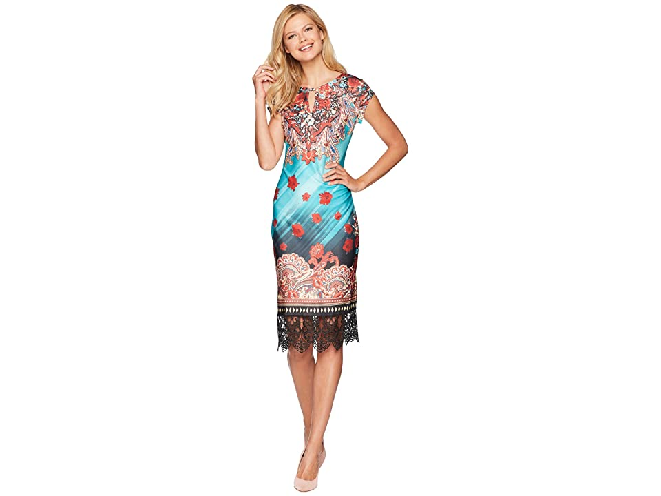 eci Printed Scuba Sheath with Lace Hem (Red/Teal) Women
