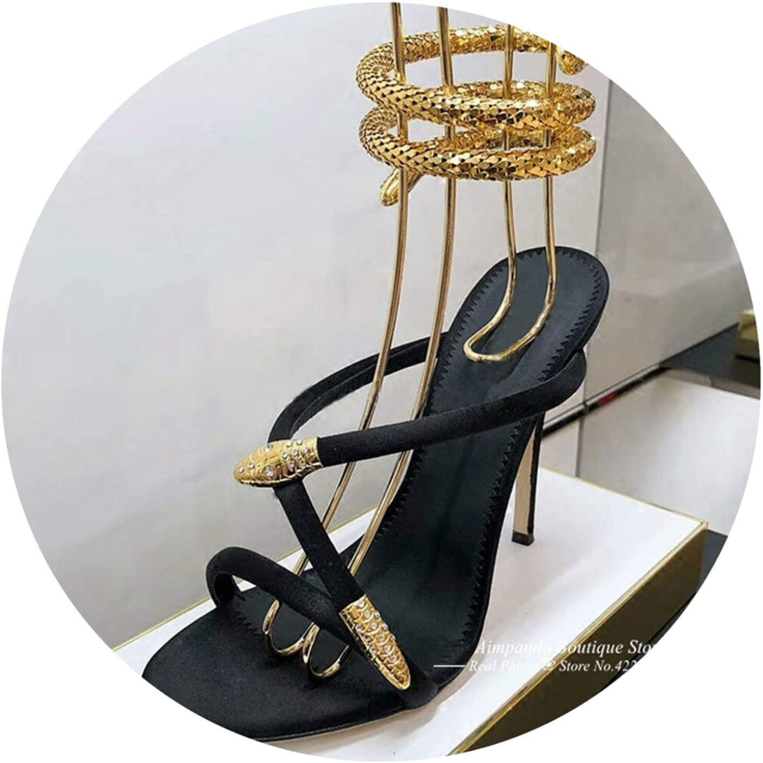 gold Snake Ankle Strap Gladiator Sandals Woman Open Toe High Heel shoes Party shoes