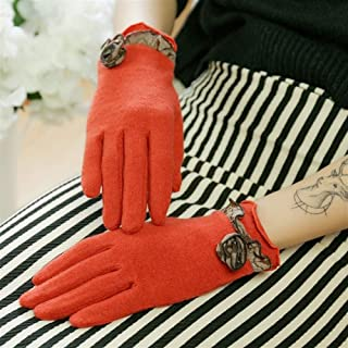 MMA-LX-SHOUTAO Fashionable Wool Thin Single Layer Gloves (Color : Orange, Size : One size)