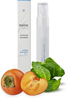Purifying & Deodorizing Body Spritzer with Japanese Deodorant Persimmon, The most powerful Antioxidant Astaxanthin and Green Tea | Eliminate all kinds of body odors including armpit/under arms, foot and nonenal aka hormone imbalance odor that occurs with age, for instant freshness