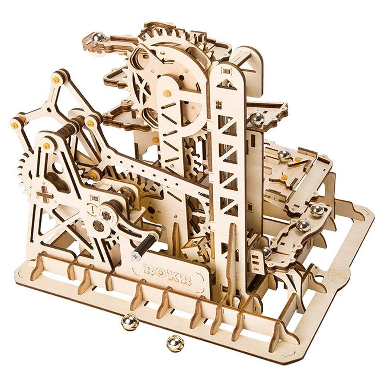 XJ0526 3D木製パズル 機械式モデル トラック付きギア アクセサリー DIY 組み立て 木製 おもちゃ セット 8歳以上 + 子供用パズル カジュアル 木製教育玩具 (タワーコースター)