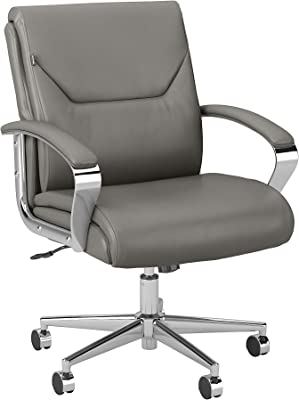 Bush Business Furniture South Haven Mid Back Leather Executive Office Chair, Light Gray