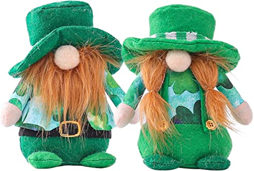 popular St. Patrick's Day Gnome Plush Toy Decorations Mr & Mrs Gnomes Handmade outlet online sale Plush Toy outlet online sale Doll for Saint Paddy's Day Easter Gnome Toy Set Dwarf Home Decoration Ornaments Pack of 2 online