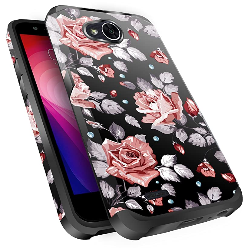 LG X Power 2 Case,LG X Charge Case,LG Fiesta 2 Case, LG Fiesta LTE Case,LG K10 Power Case, Miss Arts Slim Anti-Scratch Protective Kit with [Drop Protection] Dual Layer Cover -Rose Gold Flower