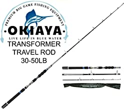 OKIAYA 3-Piece Spinning Heavy Action Portable Travel Fishing Rod Carbon Fiber Blank (30-50LB) 7'6