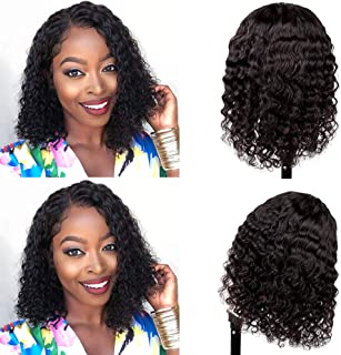 "Deep Wave Lace Front Wigs Human Hair, Brazilian Virgin Human Hair 4x4 Lace Closure Wigs, Deep Curly Human Hair Wigs with Baby Hair Natural Hairline Wigs for Black Women(deep14"")"