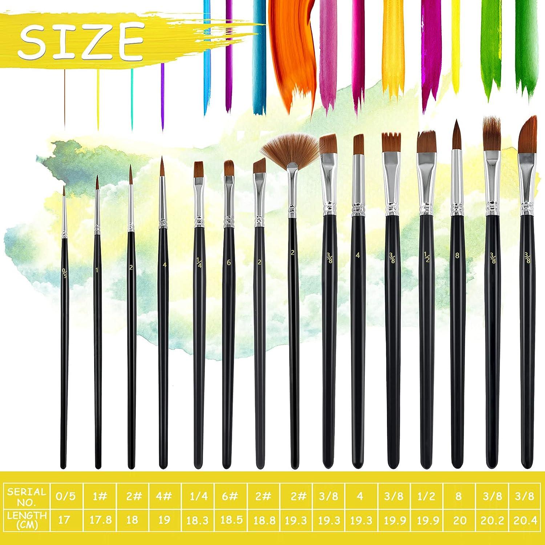 RWWXII Artist Paint Brush Set 15 Pcs Professional Watercolor Paint ...