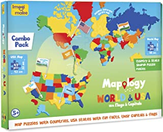 Imagimake: Mapology World and USA with Capitals- Learn World and USA States Along with Their Capitals and Fun Facts- Fun J...