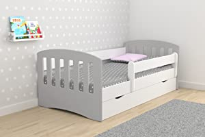 Single Bed Classic Mix For Kids Children Toddler Junior With Drawers but Mattress Included  Grey  180x80