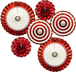 ADLKGG Hanging Paper Fans Party Set, Gold Red Round Pattern Paper Garlands Decoration for Birthday Baby Shower Graduation Retirement, Set of 6