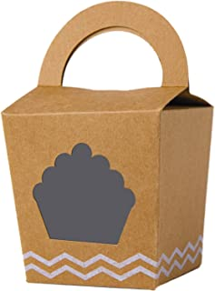 [50pcs]Single Mini Cupcake Boxes With Handle and PVC Window Kraft Individual Containers Carriers (Brown, 50)