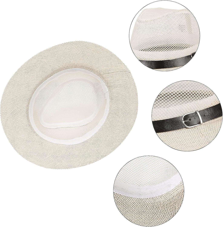 EOZY Unisex Mesh Breathable Summer Fedora Straw Hats,Wide Brim Panama Jazz Sun Hat with Belt Buckle