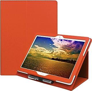 【タッチペン・専用フィルム2枚付】docomo dtab d-01Kケース/Huawei MediaPad M3 Lite 10 wp専用ケース カバー フファーウェイメディアパッド M3 ライト10 WP ディータブ d 01K 良質PUレザー手帳型ケース d01k ダイアリーケース 10インチタブレットPCケース 人気 (T0093_Orange)