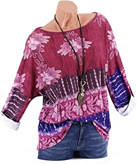 GAOXINGQU Women's Floral Printed Long Sleeve O-Neck T-shirt (Color : Wine Red, Size : 4XL)