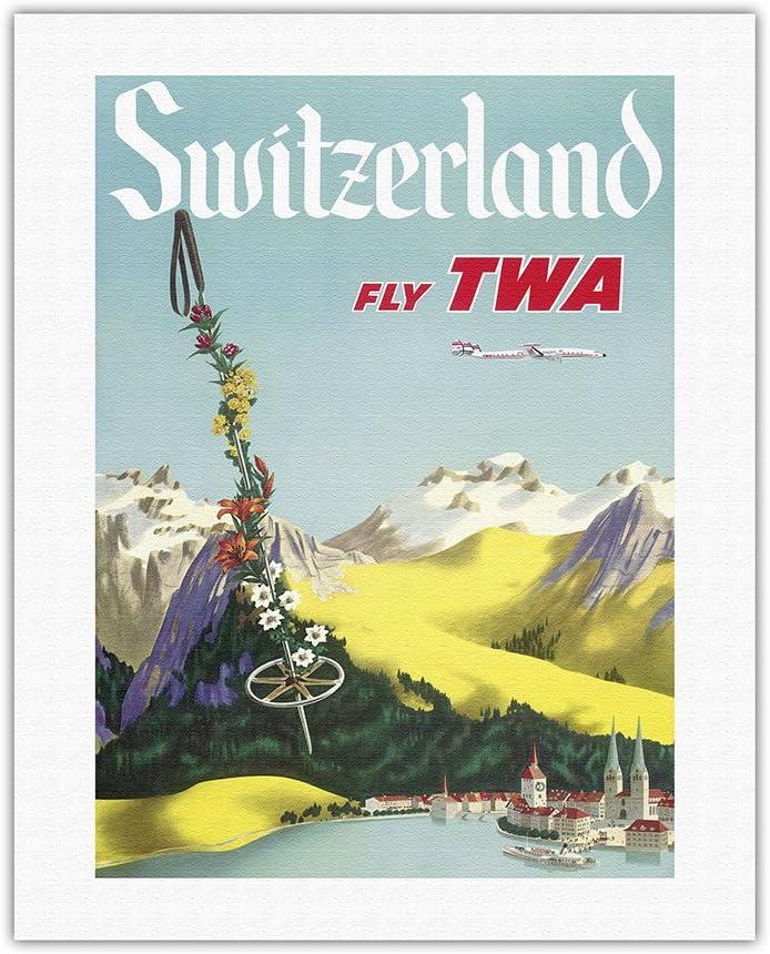 Switzerland - Award Lake Lucerne Swiss Alps Fly Trans World Air Regular discount TWA