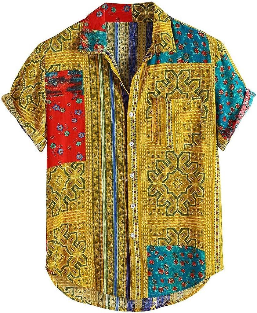 Gergeos Mens Short Sleeve Shirt Button Down Shirts Loose Vintage Beach Summer T-Shirts M-XXXL