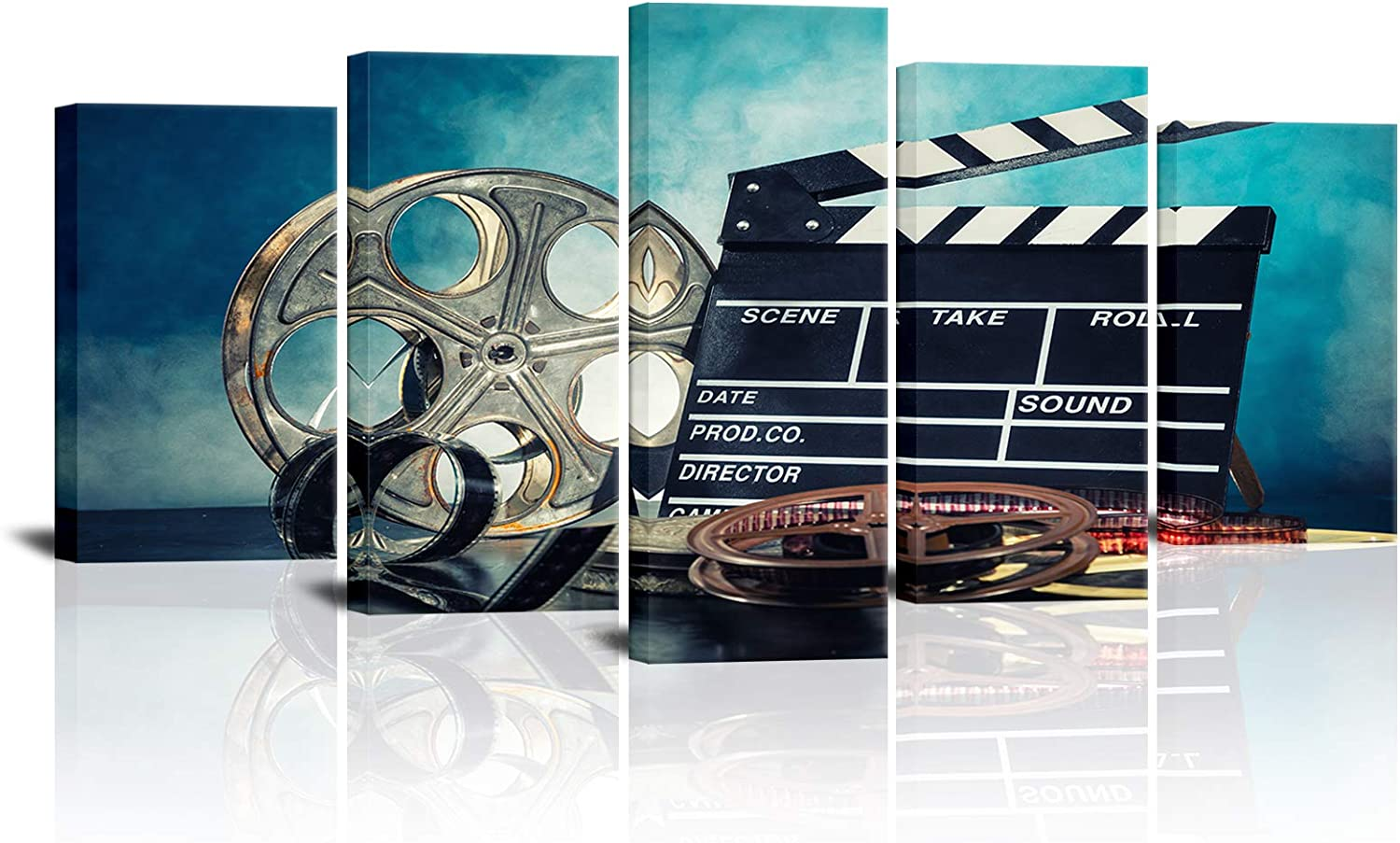 SkenoArt Movie Canvas Wall Art for Living Room Retro Film Reels Picture Paintings Black Film Chalkboard Artwork 5 Panel Modern Home Theater Media Room Decor Ready to Hang Posters and Prints