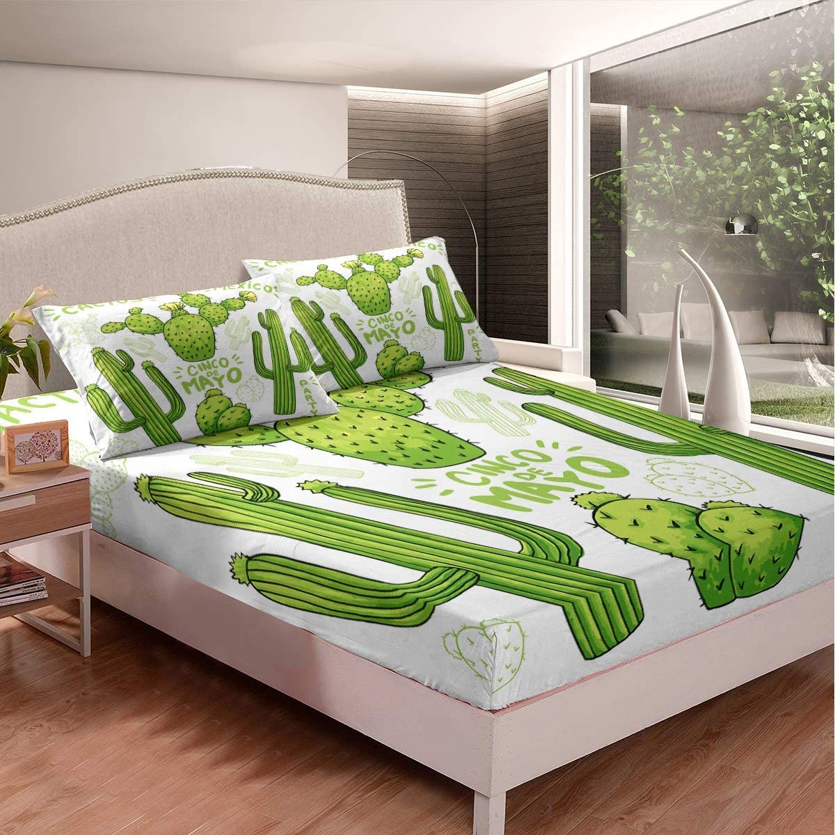 Cactus Printed Fitted Directly managed store Direct store Sheet Bedding Botanical Pattern Bed Sh Set