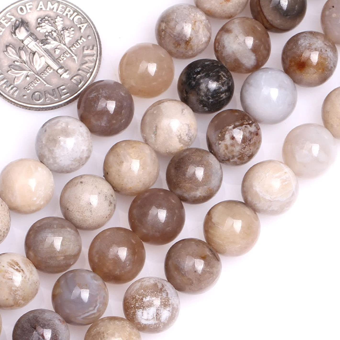 GEM-inside Natural 8mm Round Multicolored Ocean Fossil Agate Beads for Jewelry Making Strand 15