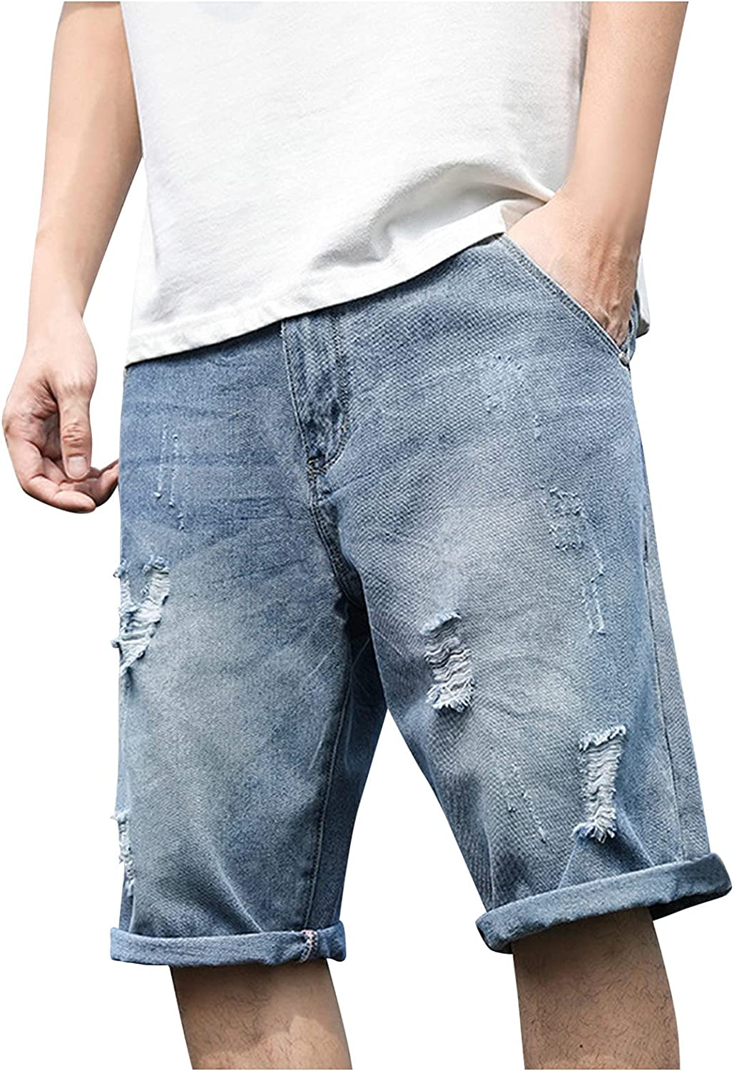Ripped Jeans Shorts for Men Knee Length Straight-Leg Jeans Short Pants Summer Casual Loose Fit Versatile Shorts - Limsea