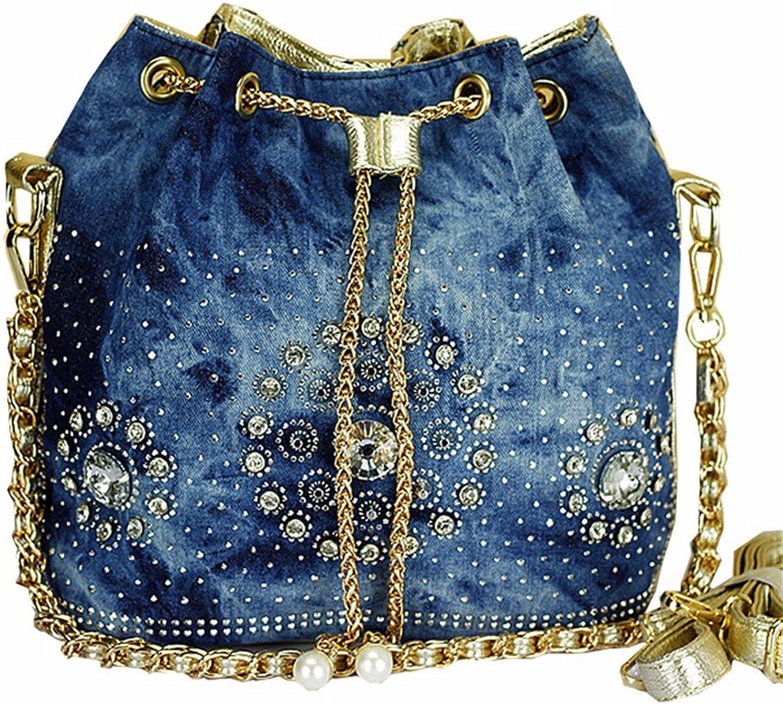 WanJiaherrenhop Weibliche Tasche einfach weibliche Tasche stilvolle Schaufel Pack Schulter Messenger Strass Bag, 28 x 15 x 28 cm